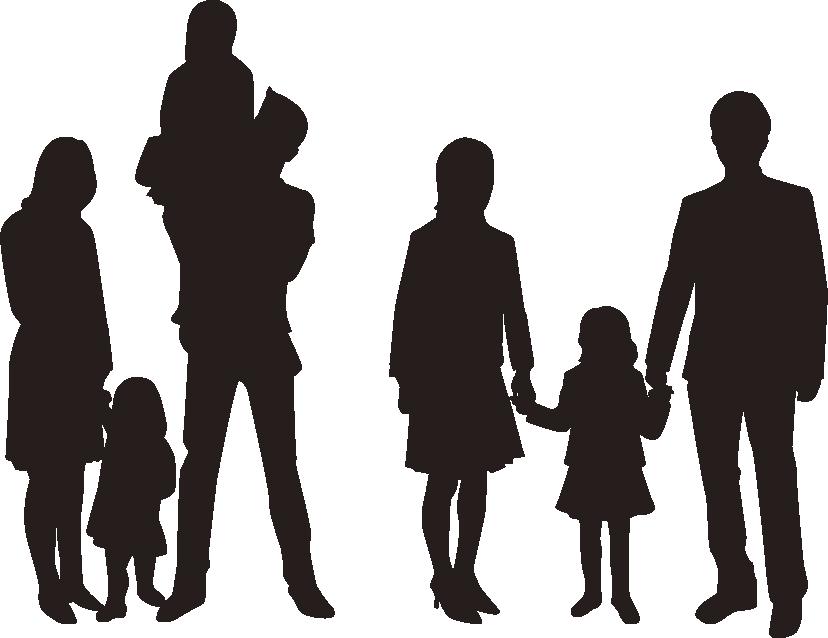 2家族のシルエット
