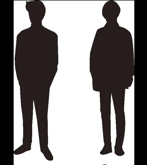 少年2人のシルエット