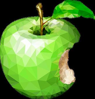 一口かじられた緑色のリンゴをモチーフにしたポリゴン画像