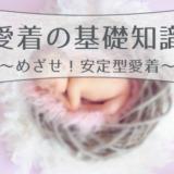 ピンク色の羽毛に包まれて眠る新生児画像を背景に愛着の基礎知識めざせ安定型愛着の文字表記