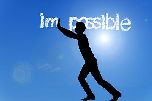 I'm possibleと雲の線で書かれた青空の背景に男性の全身像シルエット
